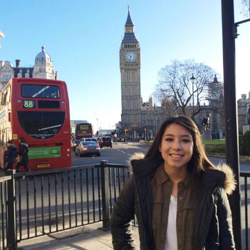 All-American cheerleader Danielle Segovia was on a tight schedule but still managed to do some sight seeing which included visiting one of the wolrd's most famous clock towers, Big Ben.