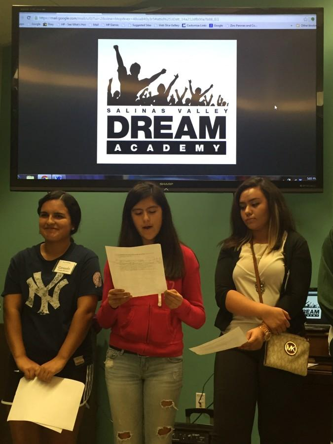 Corazon Montero, Mariela Pizarro-Silva, and Alexia Cardoso present their ideas for potential community impact projects at Cesar Chavez Library.