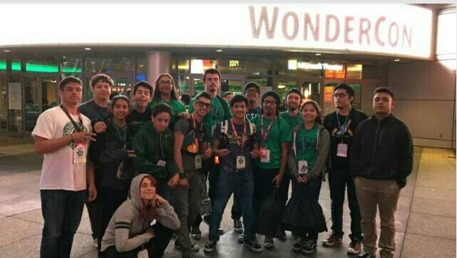 "Current members of  I.S.S.A.C. reunite with alumni at the Microsoft Theater at Wondercon in March. 1st row: Stefanie Ruelas; 2nd row: Cesar ""Berber"" Del Campo, Celeste Alonzo, Emiliano ""Emi"" Del Campo, Edgar Rubio, Enrique ""Kike"" Zavala, Antonio Beas (Alum), Alexis Rosales (Alum), Kevin Bucio (Alum), Ivan Ramirez, Bryan Vargas, Eli Gomez (Alum), Nate Dalerio (Alum), Jakob Lopez, Michael Porras (Alum)"
