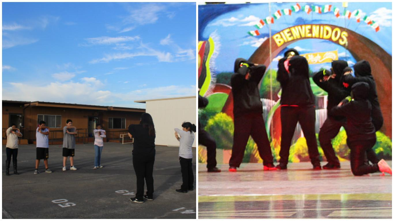 Prime Dance Crew senior leaders, Paola Chavez and Natalie Plancarte, instruct the crew members- freshmen Zoe Mendez, Alma Martinez, Jesse Alonso, Santiago Chavez, and sophomore Gisselle Garcia- as they prepare for their next performance. After all of their hard work and practice, they were finally able to perform at La Posada on December 7, 2016.