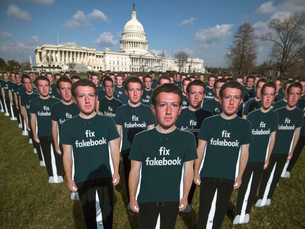 Hundreds of life-size cutouts of Facebook's founder and C.E.O. Mark Zuckerberg appear overnight in front of the Capitol lawn as protest against Facebook, the world largest internet platform.