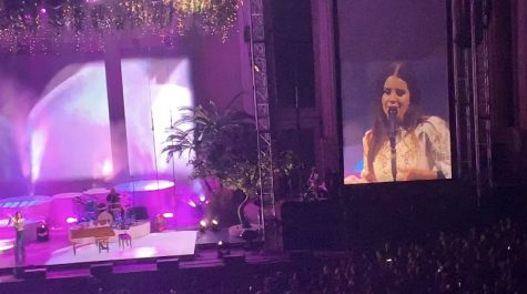 "Lana Del Rey performing ""Off To The Races"" during the second half of the October 6, 2019, concert at The Greek Theatre in Berkeley, CA."