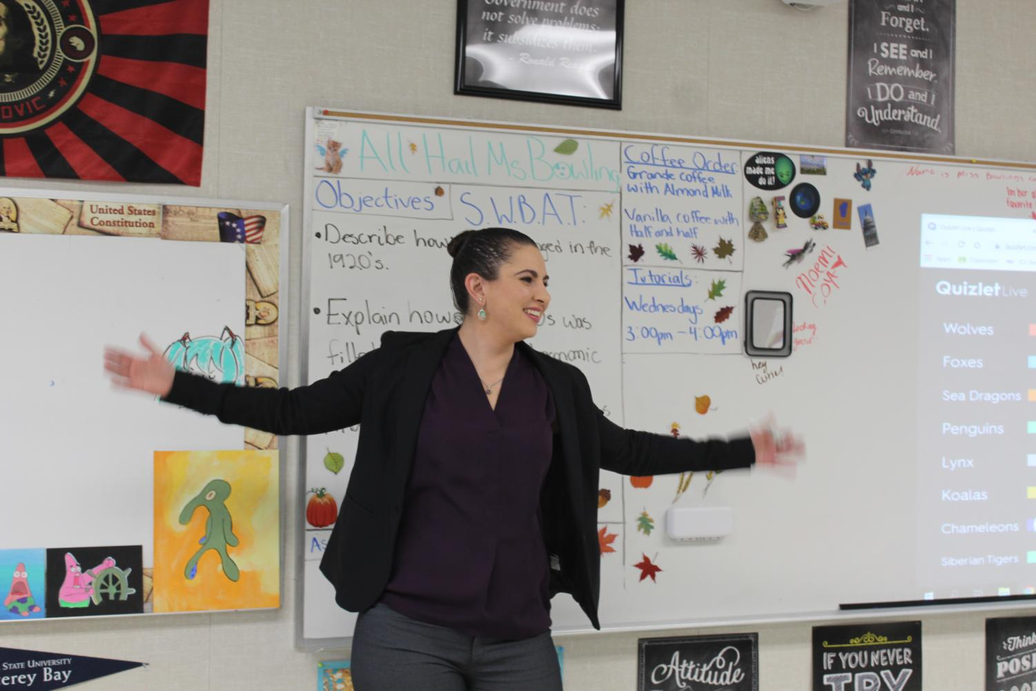 Social studies teacher Jenness Bowling encouraging her students on a game of Quizlet. Bowling, along with Mariela Guido are the new AP Coordinators, in addition to teaching five individual classes.