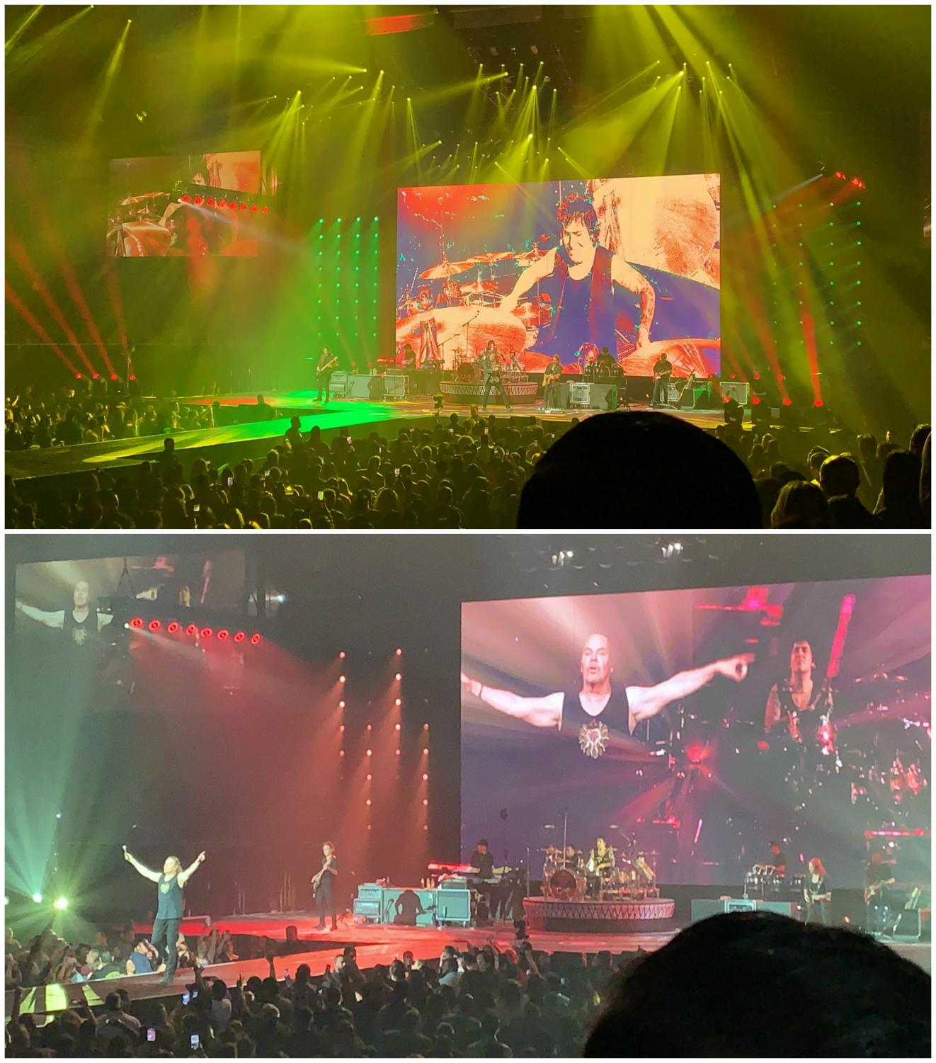 """Top photo: Maná welcoming their audience with bright neon red, yellow, and green lights.  Bottom photo: Maná ending the night with a performance of their song """"Rayando el Sol"""""""