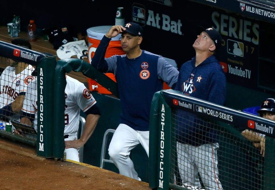 Astros coach Alex Cora and manager AJ Hinch have been implicated in the Astros sign stealing scandal.
