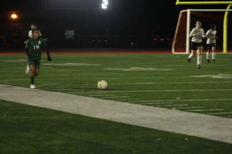 Andrea Cornelio pushes the ball up the sideline against Monterey High School in a 6-0 victory  in December.