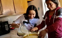 Jimena and her mom make flan. While they've baked together before, this was the first time they made it together.
