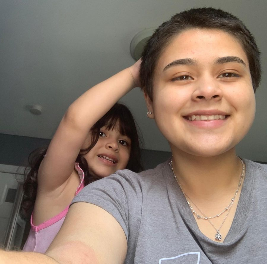 "After I cut my hair, one of my biggest fans was my little sister. Every morning she wakes up and comes over to pet my hair and tells me, ""Ooo I like your hair."""
