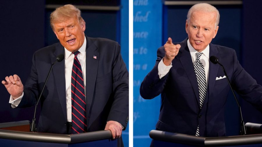 President+Trump+and+Presidential+Nominee+Joe+Biden+facing+off+in+the+first+presidential+debate+in+Cleveland.