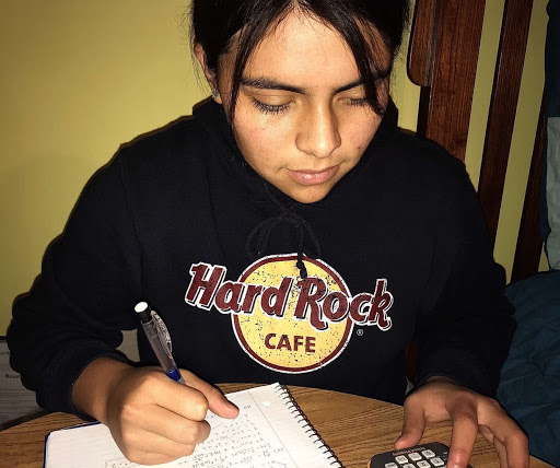 "Senior Mikaela Arista is concentrating on her AP Calculus homework. ""I enjoy doing math homework, especially now that I'm taking calculus. Though there are certain parts of the curriculum that give me a challenge, the best part is working through it and feeling successful when I finally get the right answer,"" she says."