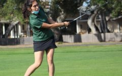 """In the team's match against Monterey and Watsonville, sophomore Ilana Mendez hits her approach shot on the 4th hole at the First Tee of Monterey County. Coach Milton Grant said, """"Ilana Mendez is producing fascinating numbers as a first-time golfer. She has consistently gotten the lowest score."""""""