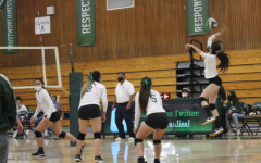 Senior Ary Valle Portela rises for a spike against King City in a 3-0 preseason victory. She said it was very exciting winning the preseason games and that they are aiming to make it to the playoffs.